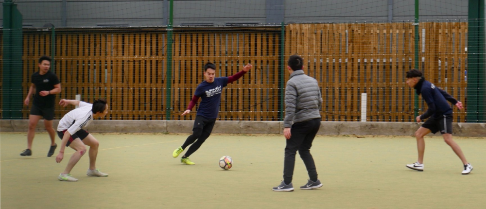 Peter in a game of football at the annual Oxbridge Games in school