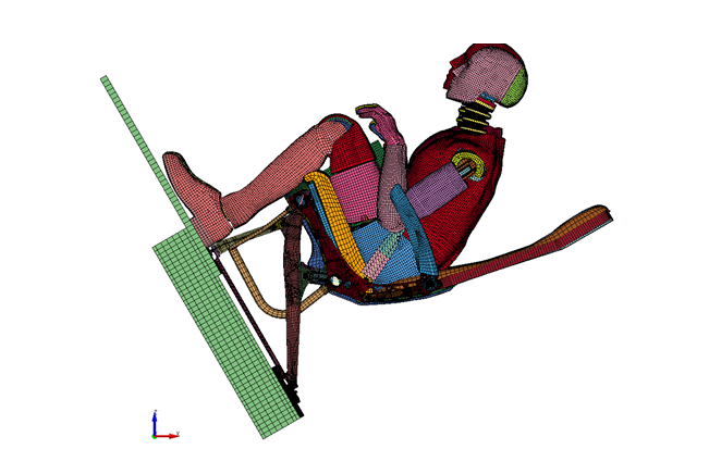 Dynamic simulation framework for crash test of aircraft seat structures